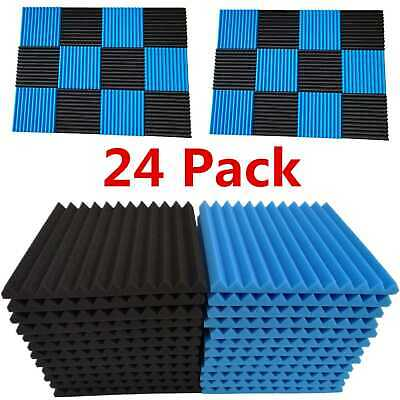 """24 Pack Acoustic Foam Panel Wedge Studio Soundproofing Wall Tiles 1"""" X 12"""" X 12"""""""
