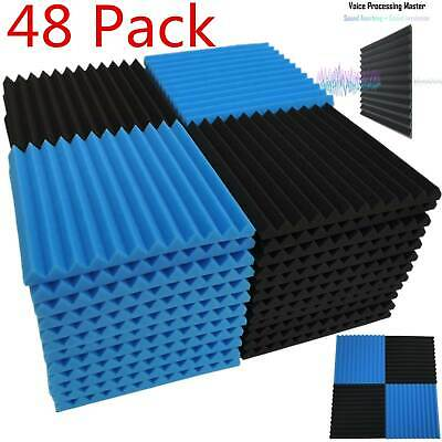 """48 Pack Acoustic Foam Panel Wedge Studio Soundproofing Wall Tiles 1"""" X 12"""" X 12"""""""