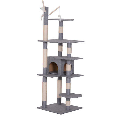 Cat Tree Cat Scratching Post Multifunctional Activity Center w/ Hanging Mouse