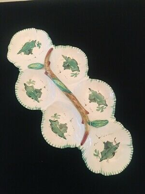 Vtg MCM Art Pottery Majolica 6 Divided Relish Nut Candy Dish Hand Painted Italy