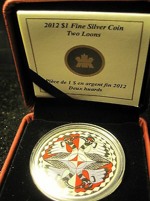 """Canada 2012 """"Two Loons Colorized"""" 25 Years Of The Loonie Coin-99.99% Silver"""