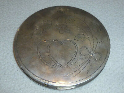 Vintage Sterling Silver Etched Hearts Flowers Compact Case Powder Womans Antique