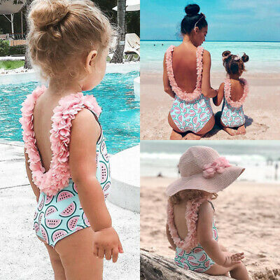 Toddler Kids Baby Girls Flower Backless Bikini Swimwear Swimsuit Bathing Beach