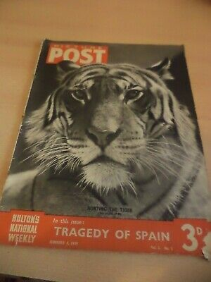 PICTURE POST OLD VINTAGE MAGAZINE 4 feb 1939 nuwm ciros tiger hunting avalanche