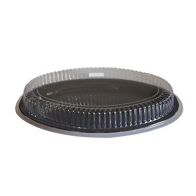 """40x Deluxe Disposable Platter w Cover Oval 16""""/40cm Black Party Catering Tray"""
