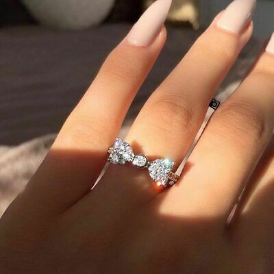 Princess Cut White Sapphire Gemstone 925Silver Filled Wedding Party Set Bow Ring