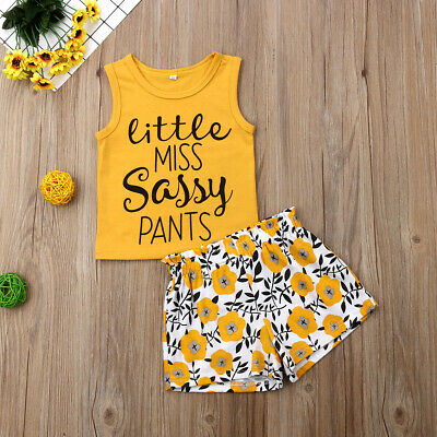 UK Toddler Kids Baby Girls Sassy Tops Vest Flower Pants Shorts Outfits Clothes