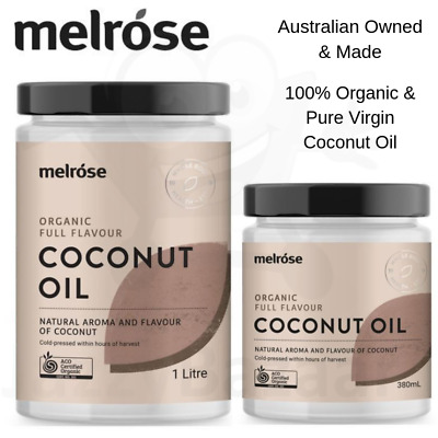 Melrose Organic Full Flavour Coconut Oil 380ml &1 Litre Refined Cooking Virgin