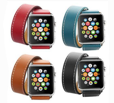 Double Tour Leather Band Strap Bracelet For Apple Watch iWatch Series 4 3 2 1