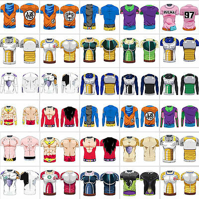 Mens 3D Dragon Ball Z DBZ T-shirt Compression Casual Shirts Jersey Cosplay Tops