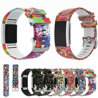 Breathable Floral Watch Silicone Strap Wrist Band For Fitbit Charge 2 /2 HR