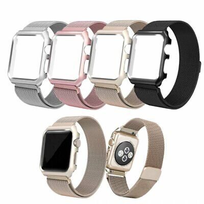 Magnetic Milanese Stainless Band Strap +Case Frame For Apple Watch Series 4 3 2