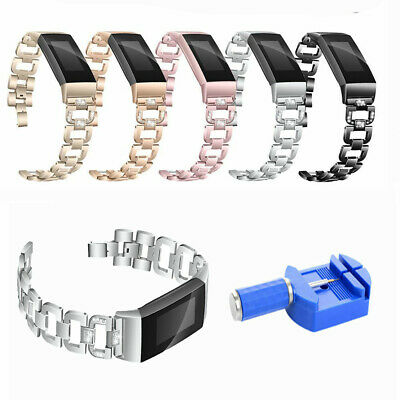 Rhinestone Metal Watch Strap Band + Adjuster For Fitbit Charge 3 / Charge 3SE