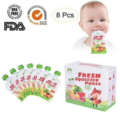 8Pcs 200ml Reusable Fresh Squeezed Pouches Homemade Baby Puree Bag Food Feeding