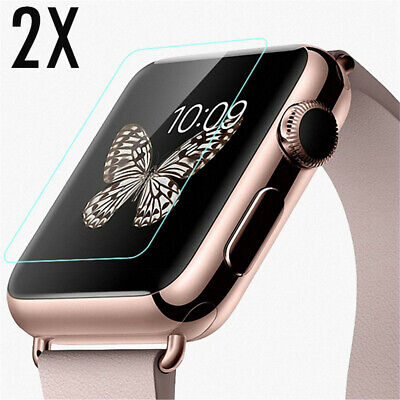 2 x TEMPERED GLASS FILM SCREEN PROTECTORS For The APPLE WATCH IWATCH 38mm UK