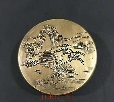 Exquisite CHINESE Old Hand carving Old Copper Landscape Scenery chart box