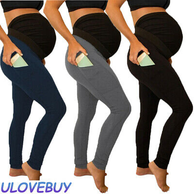 Pregnant Women Skinny High Waist Pants Solid Pocket Trousers Maternity Pregnancy
