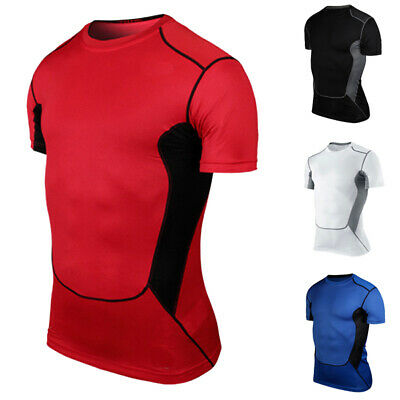 New Mens Layer T-shirt Compression Basic Tight Sport GYM Athlete Muscle Tee Tops