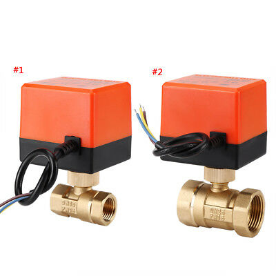 AC 220V Brass Electric Motorized Ball Valve 2 Way 3-Wire 1.6Mpa Thread Durable