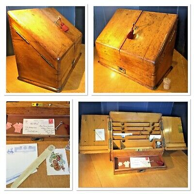 Circa 1890 Solid Oak Stationery / Writing Box with Drawer, Key, Inkwell & extras