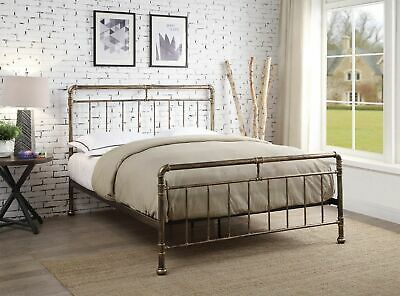Camden Industrial Antique Brass Bronze Metal Bed Frame Single Double King Size