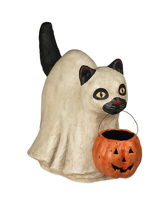 "Bethany Lowe Designs Halloween ""Large Ghost Cat"" Paper Mache TD7630"