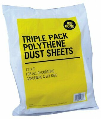 PRO DEC pack of 3 - 3.6m x 2.7m Polythene Dust Sheets decorating cover TPS