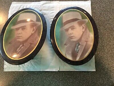 "2. Antique small  metal oval Victorian picture frame  photo of a MAN  8"" X 6"
