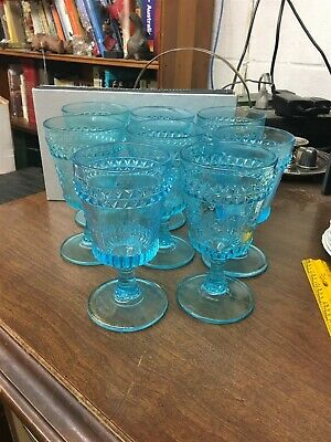 """Vintage Set of 8 Blue Early Pressed Glass 6"""" Water Tumblers Flowers"""
