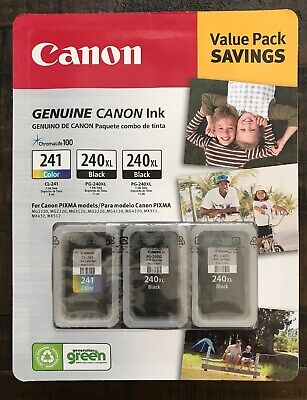 Canon PG-240XL/CL-241 Ink Tank Cartridge, Black/Tri-Color 3 pack Factory Sealed