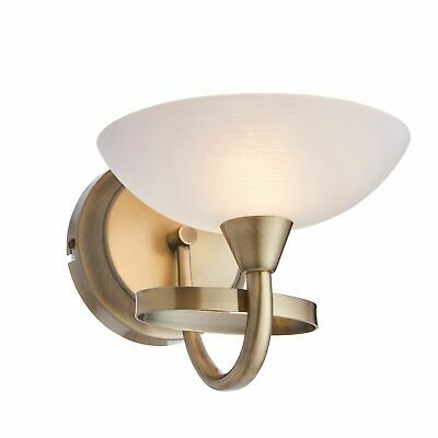 Wall Up Light Glass Shade Antique Brass/Satin Chrome Wall Fitting Sconce 33W G9
