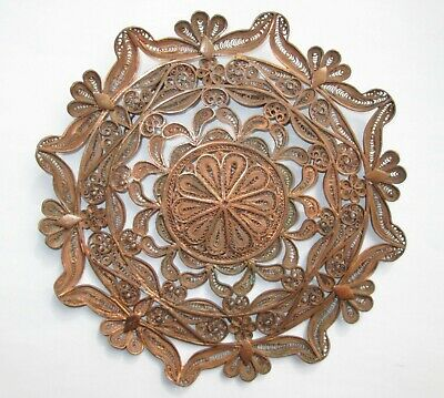 """Vintage Hand Made Copper Sun Filigree Wall Hanging Art Plate Home Decoration 6"""""""