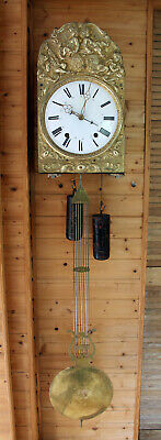 ANTIQUE FRENCH 1860 MORBIER COMTOISE WALL CLOCK with BELL and DATE