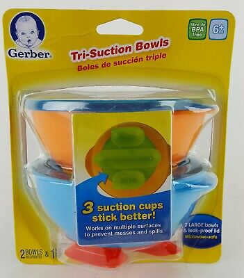 2 Tri Suction Bowls Prevents Messes And Spills Gerber Nuk 6 Month + Bpa Free