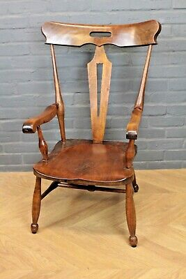 Antique Late Victorian Arts & Crafts Beech Elbow Chair Farmhouse Carver Armchair