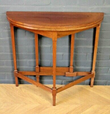 Antique Edwardian Mahogany Gateleg Folding Demi Lune Occasional Side Table