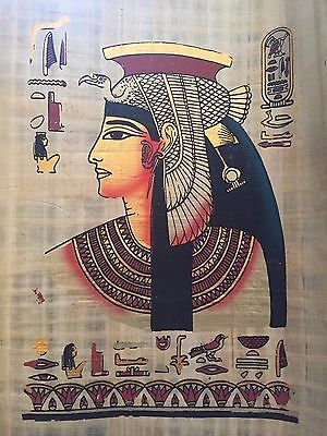 Huge Ancient Egyptian Queen Cleopatra Handmade Painting on Papyrus .