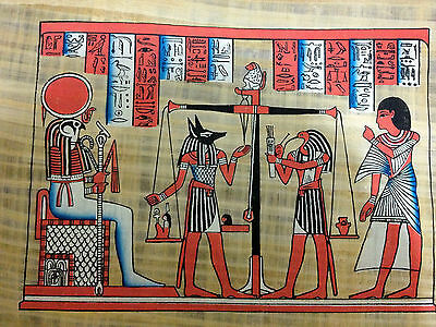 Huge Egyptian the Judgment Painting on Papyrus from Egypt