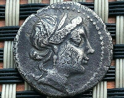 "Ancient Greek Silver Coin Ar Drachma 450-100 Bc ""Cornucopiae"" Unknown."