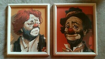 NICE VINTAGE OIL Portrait Painting Of Clown By K  Graven Signed