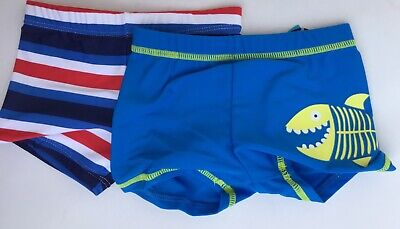 Baby Boys 2 pack Swim Trunks. 1 x Blue with Shark + 1 x Striped 12-18 months