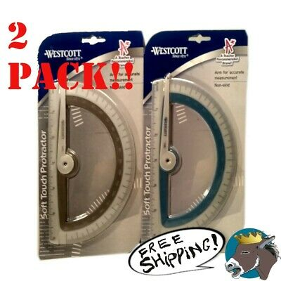 2x Westcott Soft Touch School Protractor With Microban Protection. gray/ teal
