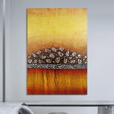 *Golden Wall* Hand Painted Canvas Oil Painting Abstract Home Decor Art Framed
