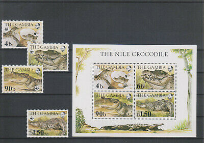 Gambia, WWF Krokodile aus 1984, complete set MNH and Block