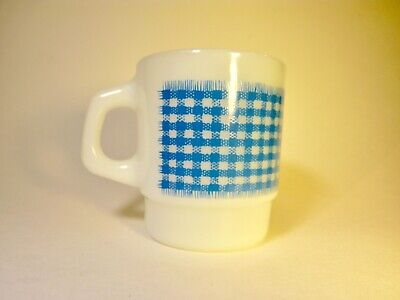 Vtg Fire King Coffee Anchor Hocking Mug Gingham Check Teal Blue Stacking Cup