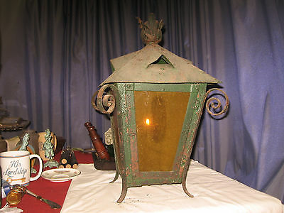 Antique 1800s 19c stained glass Wrought Iron CANDLE porch Lantern orig old glass