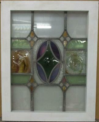 "MIDSIZE OLD ENGLISH LEADED STAINED GLASS WINDOW Diamond Bullseye 18.25"" x 23"""