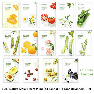 Nature Republic Real Nature Mask Sheet 23ml 14ea + 1ea (Random) Set