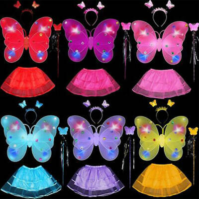 Girl Kids Fairy Wings Butterfly Fancy Dress Up Costume Party Pretend Play Set