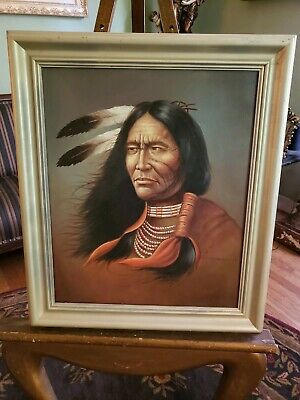 LARGE Vintage Oil Painting-Indian Chief-Artist Z. Garcia-Great Detail